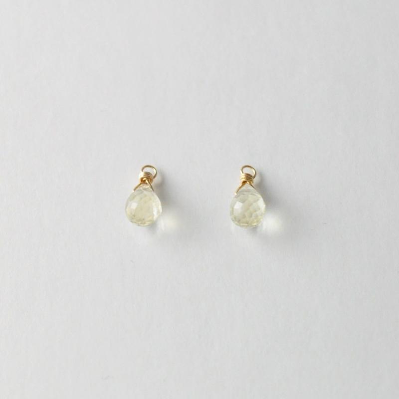 【anq.】K10・天然石チャーム レモンクォーツ
