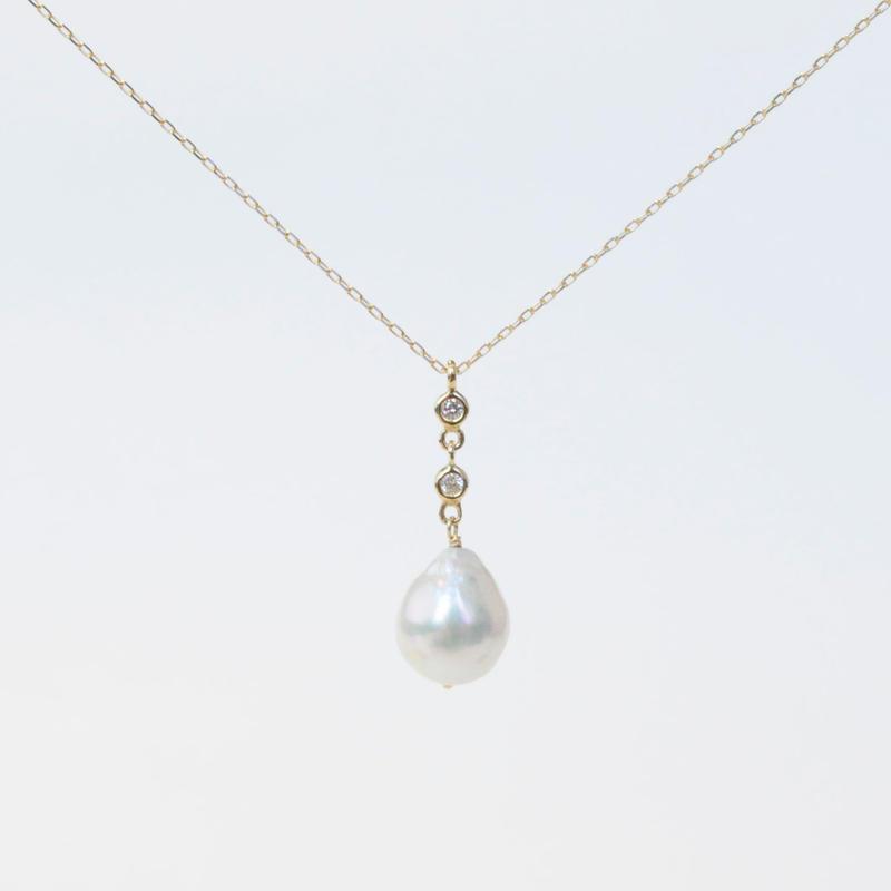 【anq.】K18・2連ダイヤモンド、アコヤパールネックレス