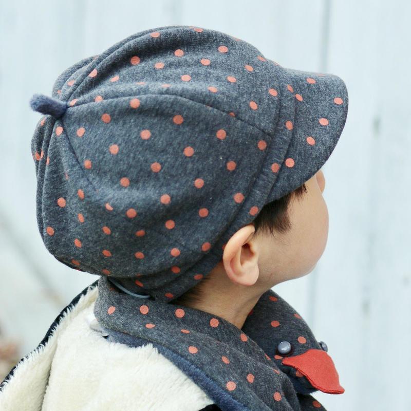 裏ボア 帽子【タンジェリン水玉】 こども用