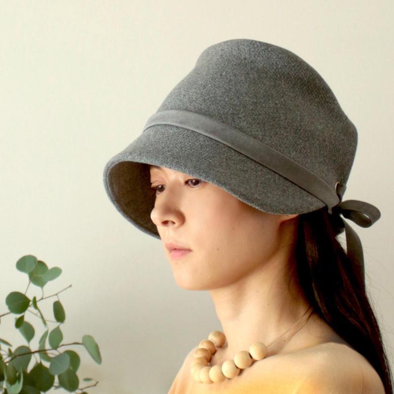 ◇送料無料◇ ウールメルトン帽子【グレー】レディース