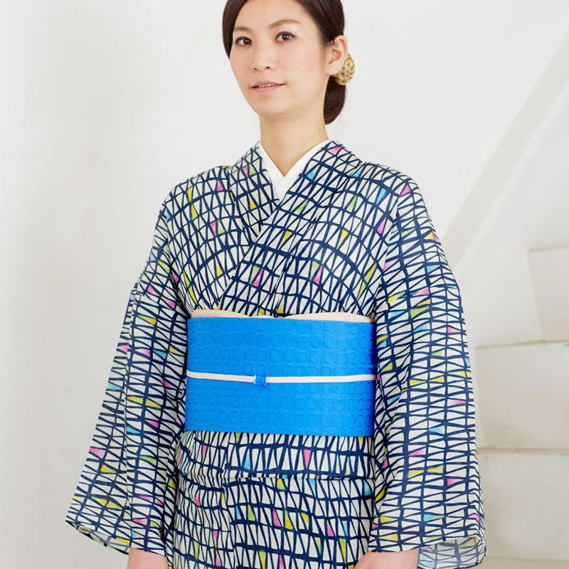 【5-9きもの】麻きもの 三角の森 紺青