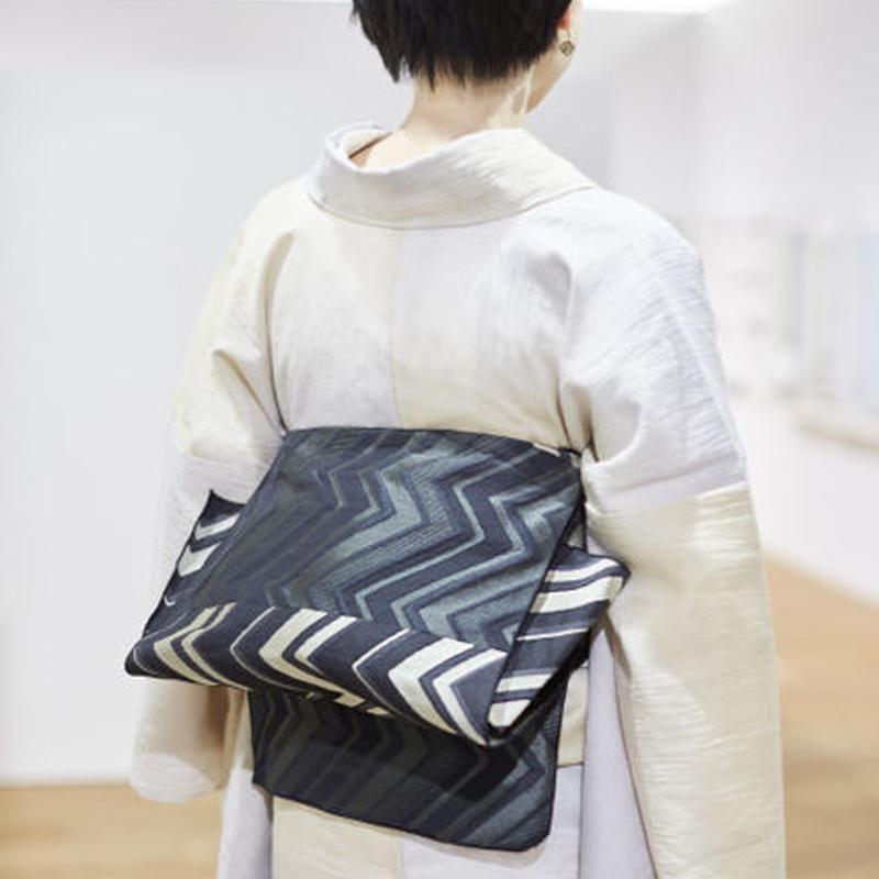 【5-9きもの2017】織り兵児帯 ジグザグ 黒
