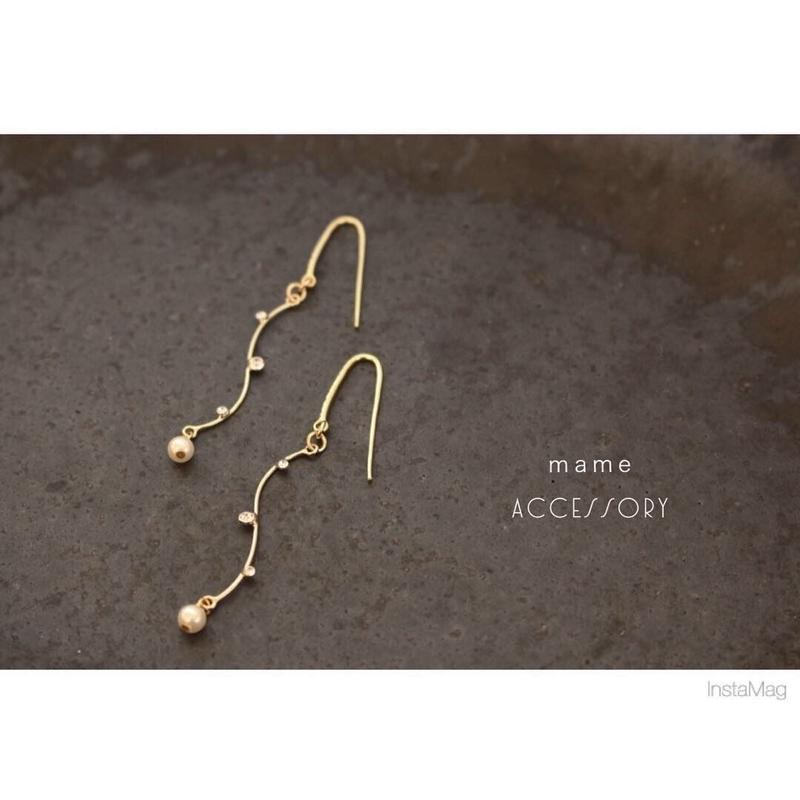 stone・pearl /16kgp simple pierce