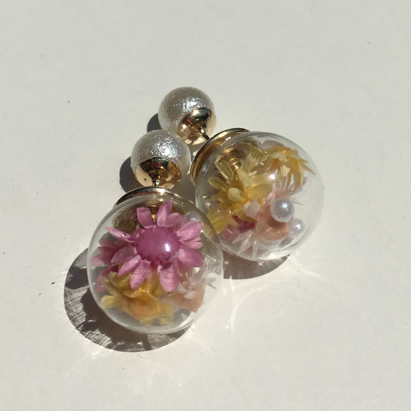 ガラスドーム【濃ピンク・黄】