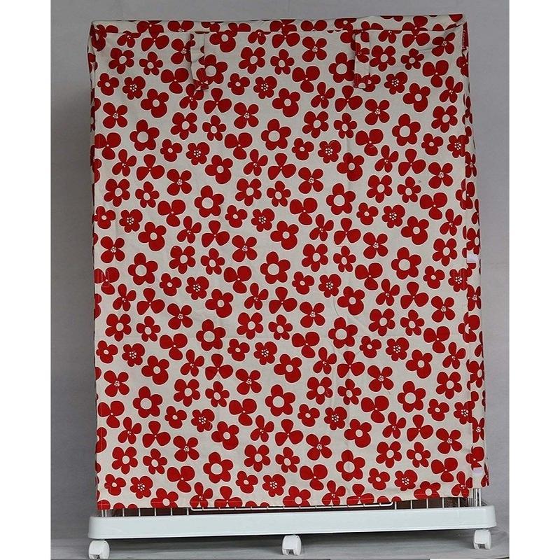 Cocoheart ケージカバー日本製(縫製・帆布/綿100%)(横幅95cmX奥行き70cmX高さ110cm) (2段ケージ用 Bタイプ, フラワーレッド)