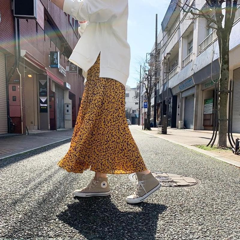 【再入荷】カラーペイントミックスプリーツスカート
