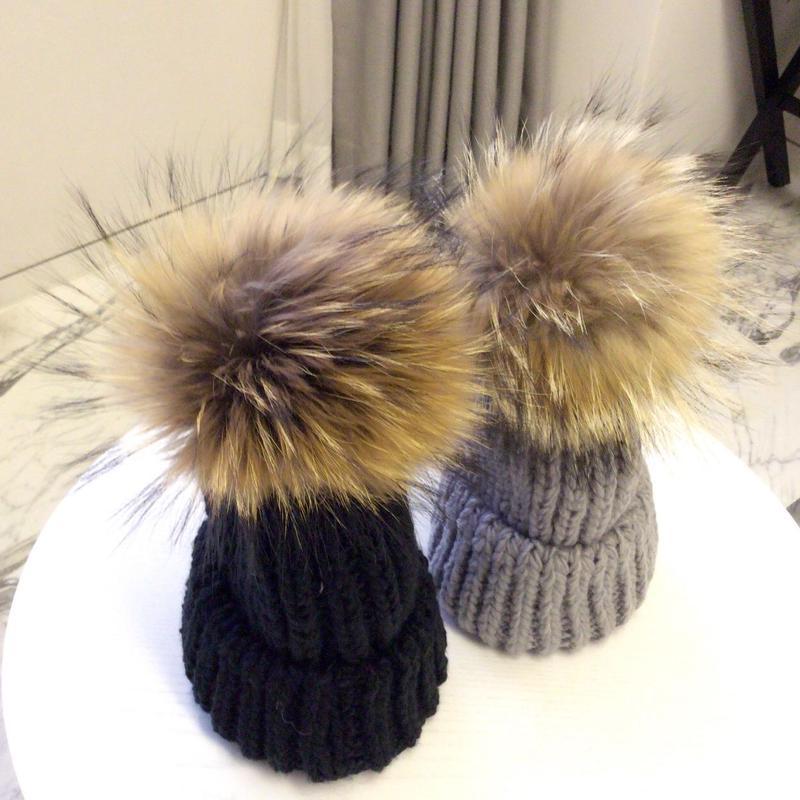 リアルファーポンポンニット帽