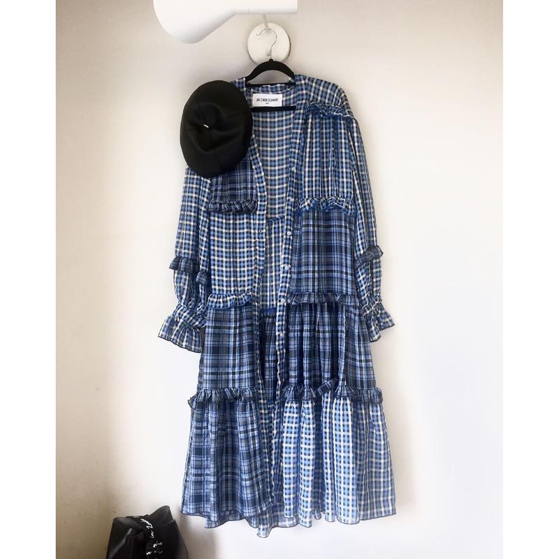 マキシ丈チェックロングシャツ