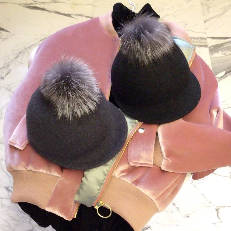 リアルファーポンポン帽子