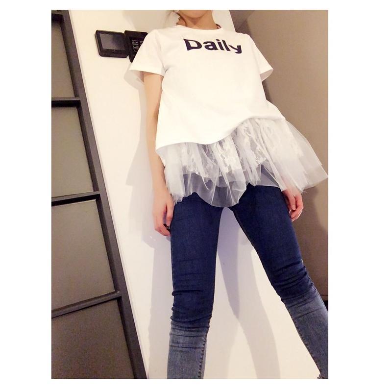 フリルチュニックTシャツ・ホワイト
