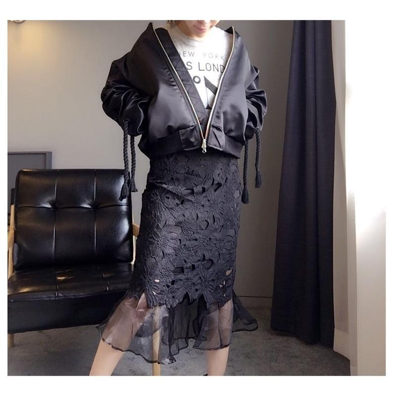 すけ編みオーガンジーマーメイドスカート