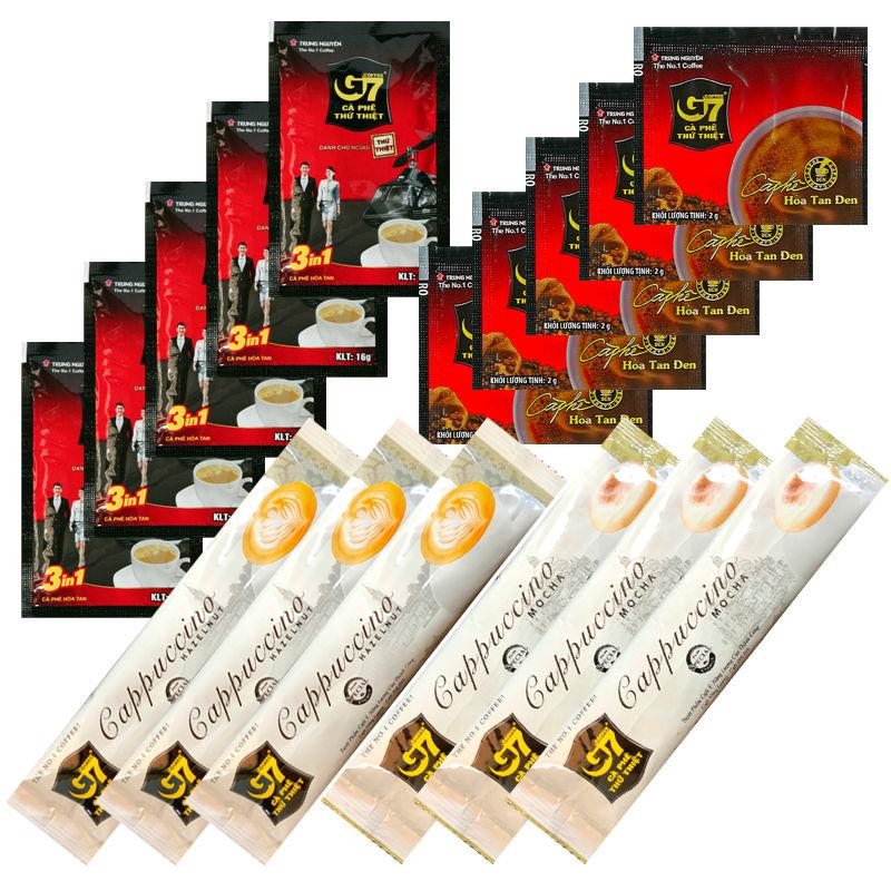 【送料無料】 ベトナム コーヒー 【4種お試しセット】 3in1 カフェオレ ブラック カプチーノ ヘーゼルナッツ モカ インスタント G7 TRUNG NGUYEN  チュングエン 珈琲