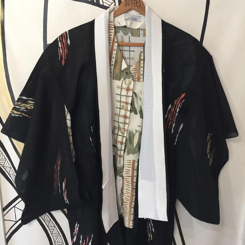 【KIMONO】ヴィンテージ ブラック メッシュ 着物 ロングガウン
