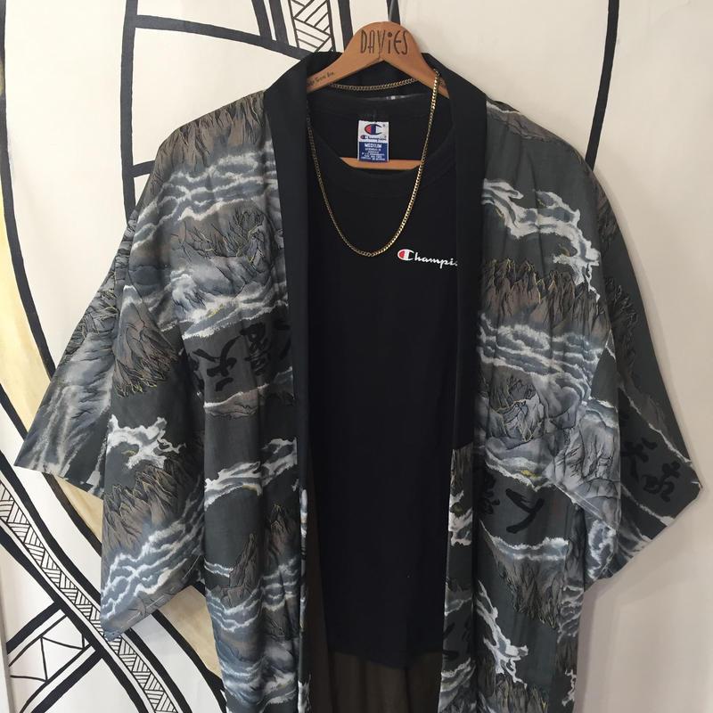 【KIMONO】ヴィンテージ 漢字 和柄 着物 ロングガウン