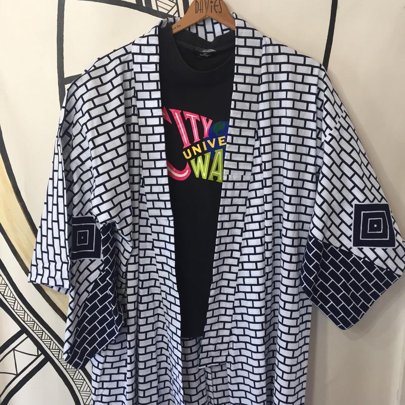 【YUKATA】ヴィンテージ 正方形 デザイン 浴衣 ロングガウン