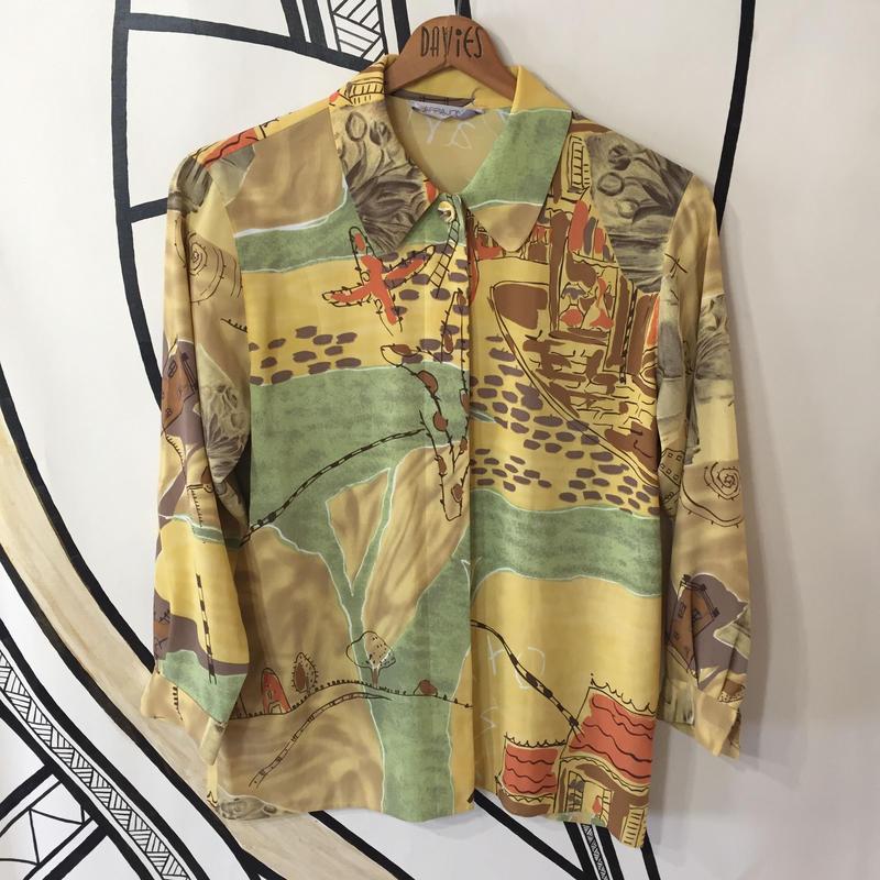 【個性的】レトロ 落書き デザイン 日本製 柄シャツ