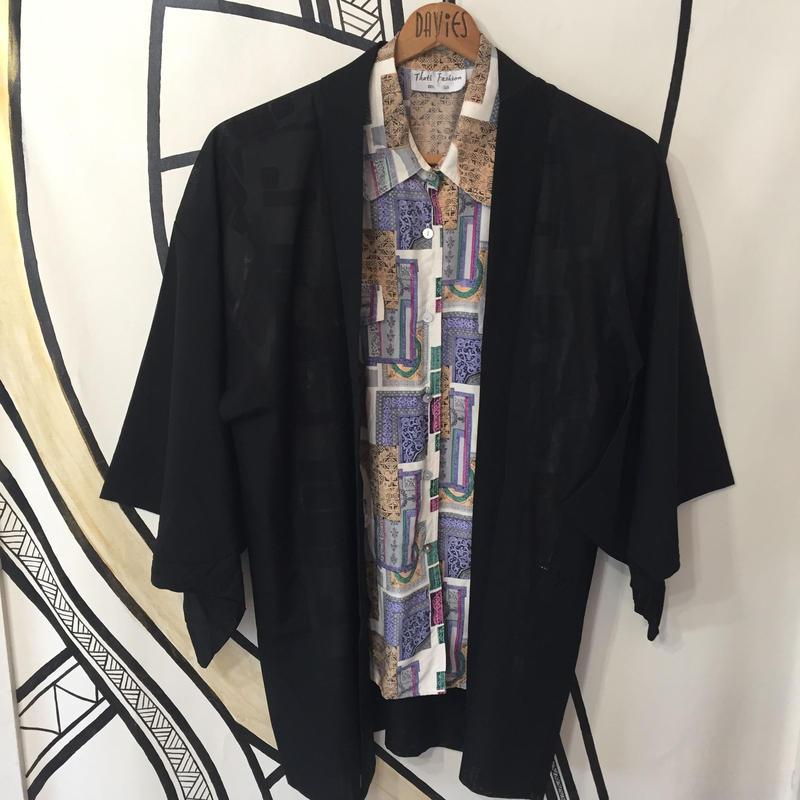 【KIMONO】ヴィンテージ ブラック メッシュ 着物 羽織 ガウン