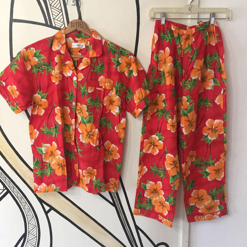【個性的】ハワイアン アロハシャツ&イージーパンツ セットアップ