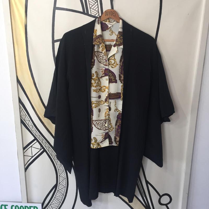 【KIMONO】ヴィンテージ ブラック 着物 羽織 ガウン