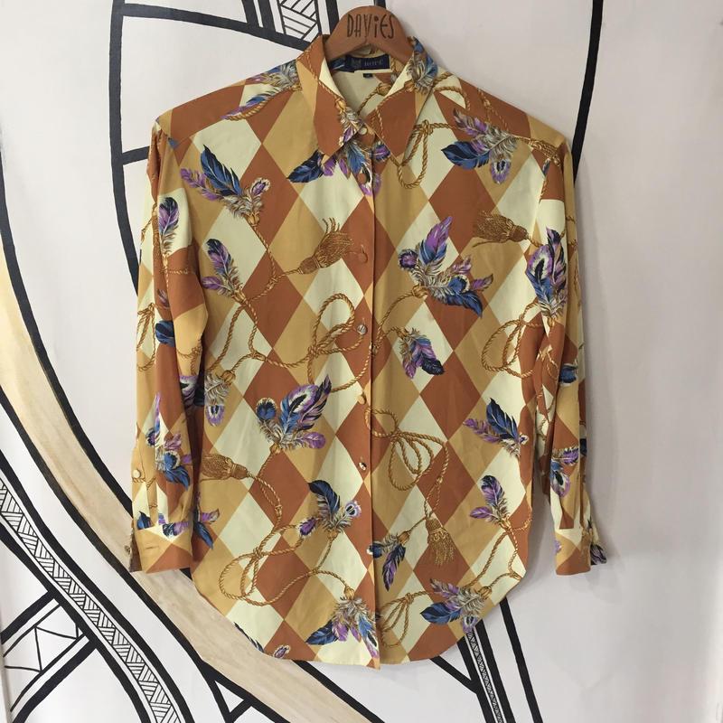 【個性的】レトロ スカーフ柄 日本製 ヴィンテージ 柄シャツ