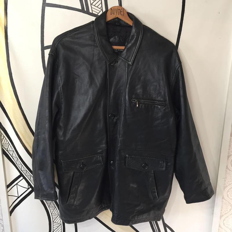 【BIG】本革ブラックレザージャケットコート