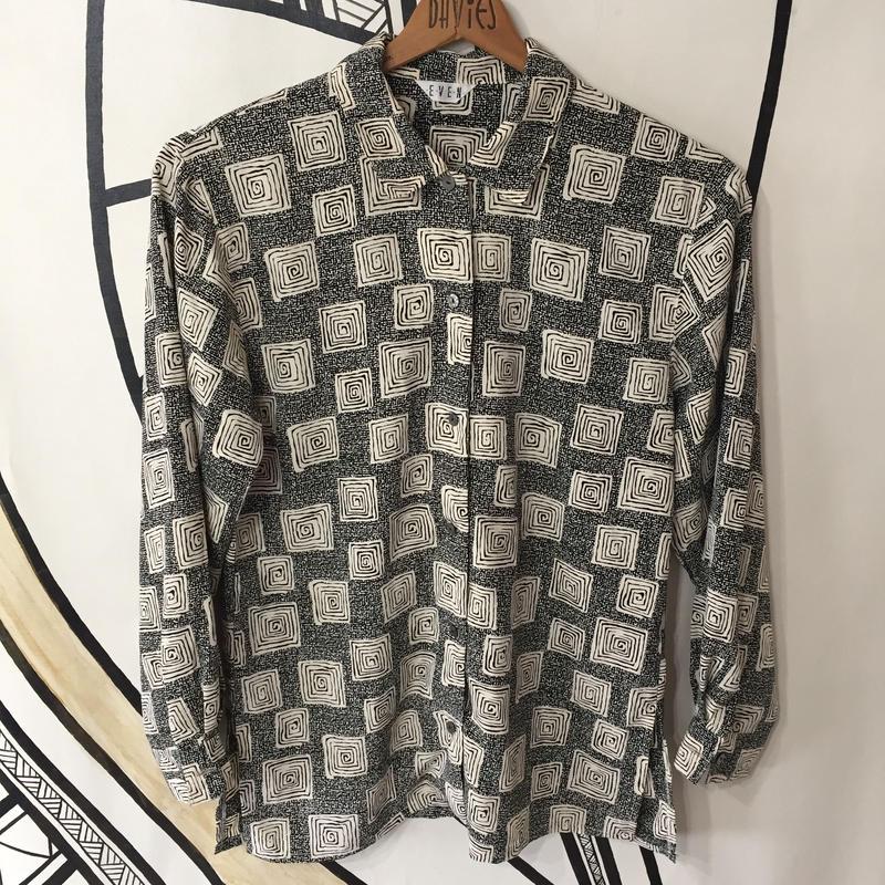 【奇抜】ヴィンテージ ぐるぐる デザイン 日本製 柄シャツ