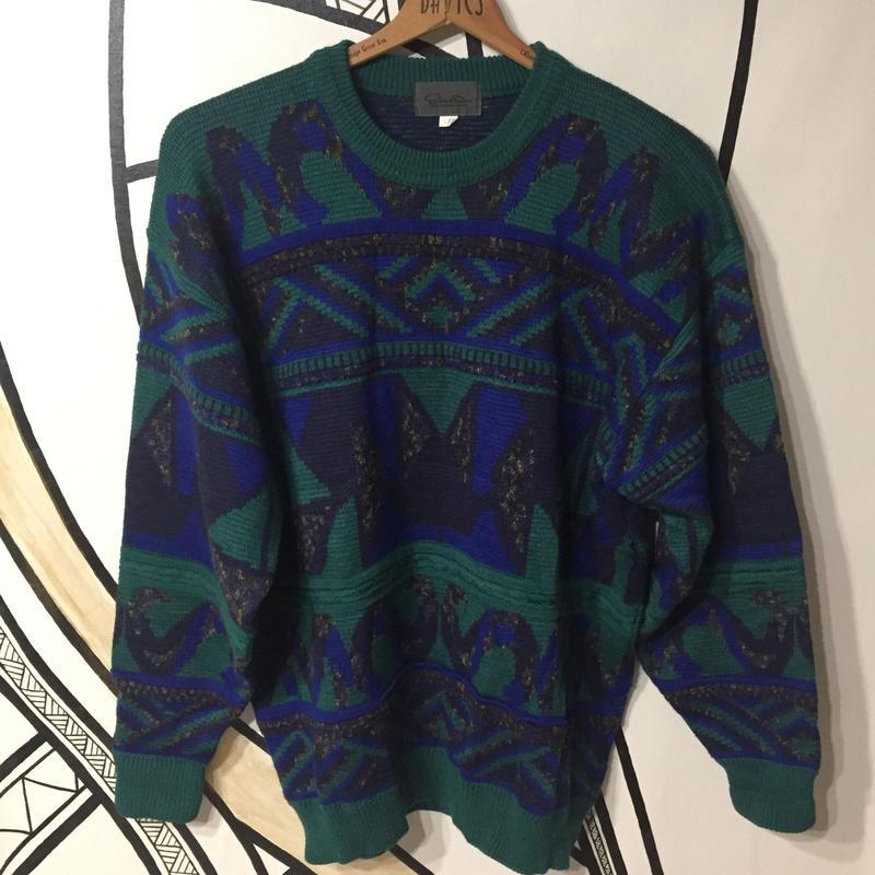 【個性的】COOGI風ビッグサイズ グリーンセーター
