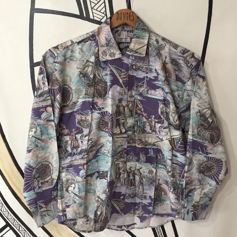 【派手】ヴィンテージ 英国 航海士デザイン 日本製 柄シャツ