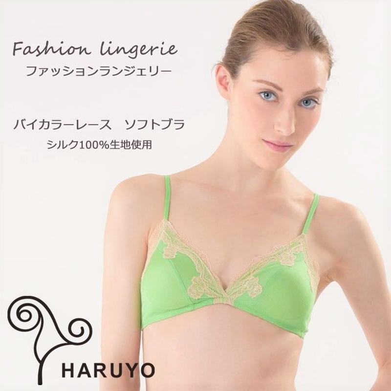 シルク100%ニット&バイカラーレース ソフトブラ(haruyo)418074