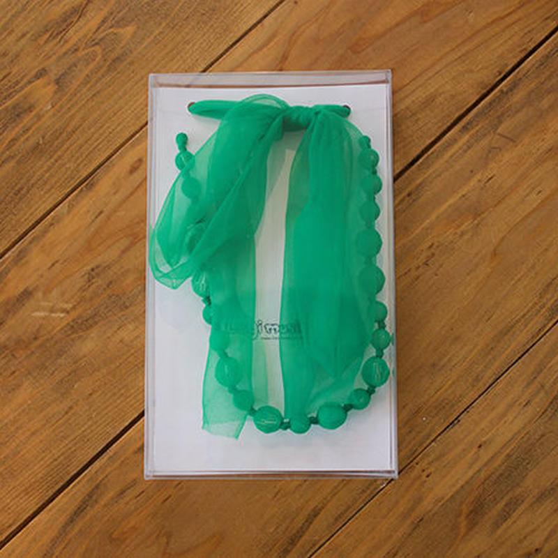 ビーズ&リボン ネックレス(br17/green)