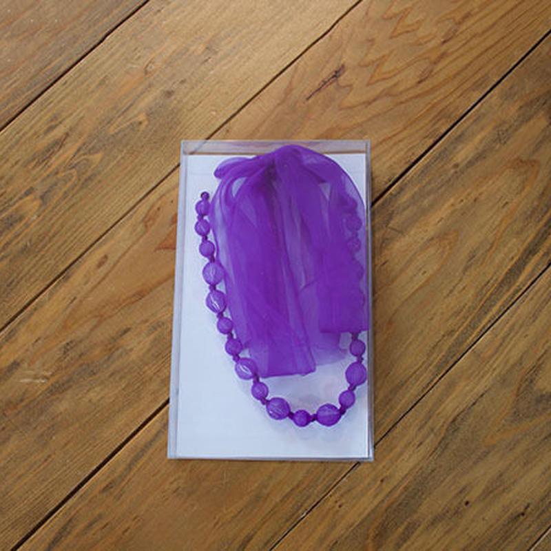ビーズ&リボン ネックレス(br12/purple)