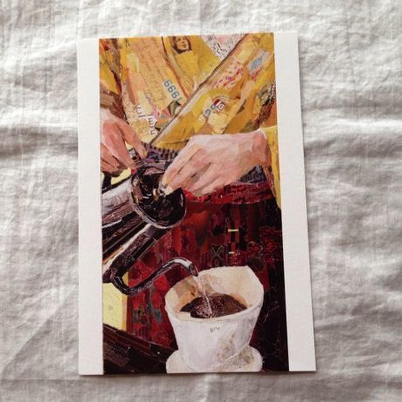 丸田ちひろ ちぎり絵ポストカード  「コーヒー」