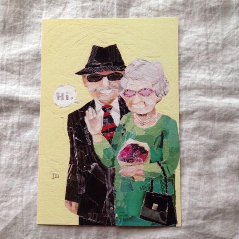 丸田ちひろ ちぎり絵ポストカード  「老夫婦」