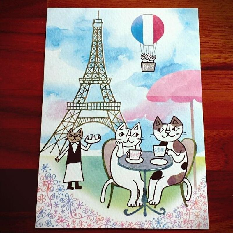 おかべてつろう ポストカード「パリのカフェで。」