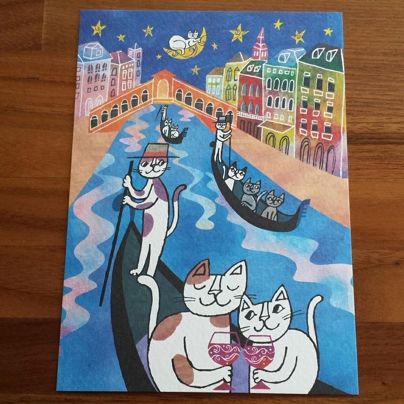 おかべてつろう ポストカード「ベネチアの夜。」