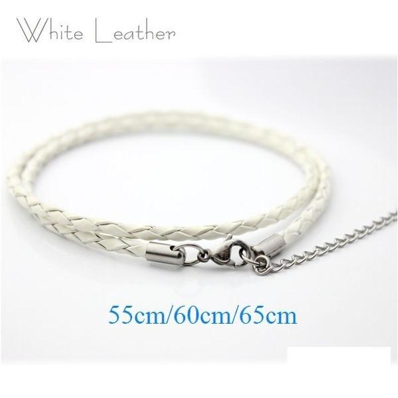 ネックレス◆幅約3mm 長さ55~65cm 本革 ホワイト レザーチョーカー 丸編み アジャスター付き◆C-651