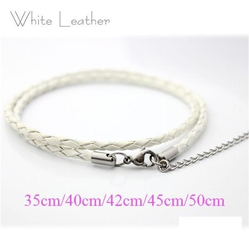 ネックレス◆幅約3mm 長さ35~50cm 本革 ホワイト レザーチョーカー 丸編み アジャスター付き◆C-651