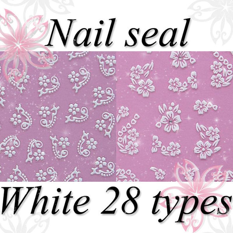 ネイルアート◆最高級ネイルシール 28種 ホワイト系◆P-XF035-W
