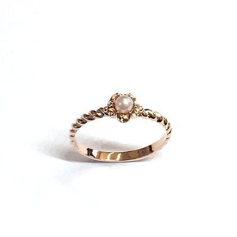 指輪 ピンクG プラパール ピンキーリング スワロフスキークリスタル使用 sg◆BR-4112