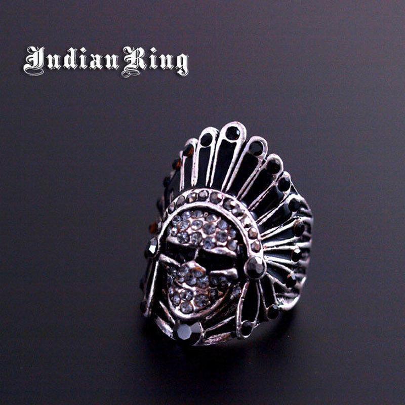 指輪 リング◆インディアンモチーフ★ブラックラインストーン◆Nc-017