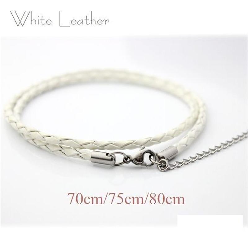 ネックレス◆幅約3mm 長さ70~80cm 本革 ホワイト レザーチョーカー 丸編み アジャスター付き◆C-651