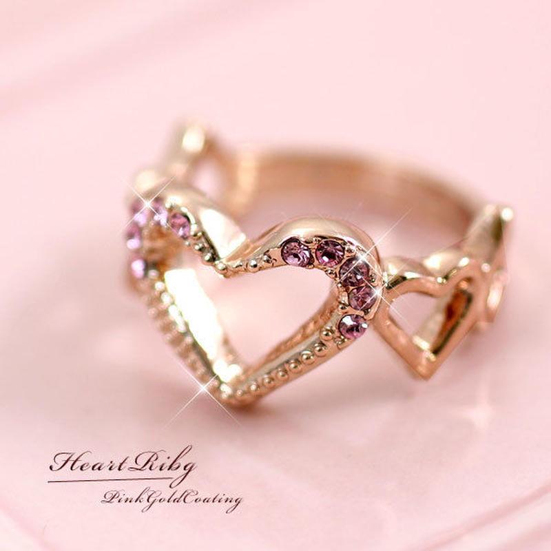 指輪 リング◆スウィートでロマンチックなきらめくハートリング◆SL-1215