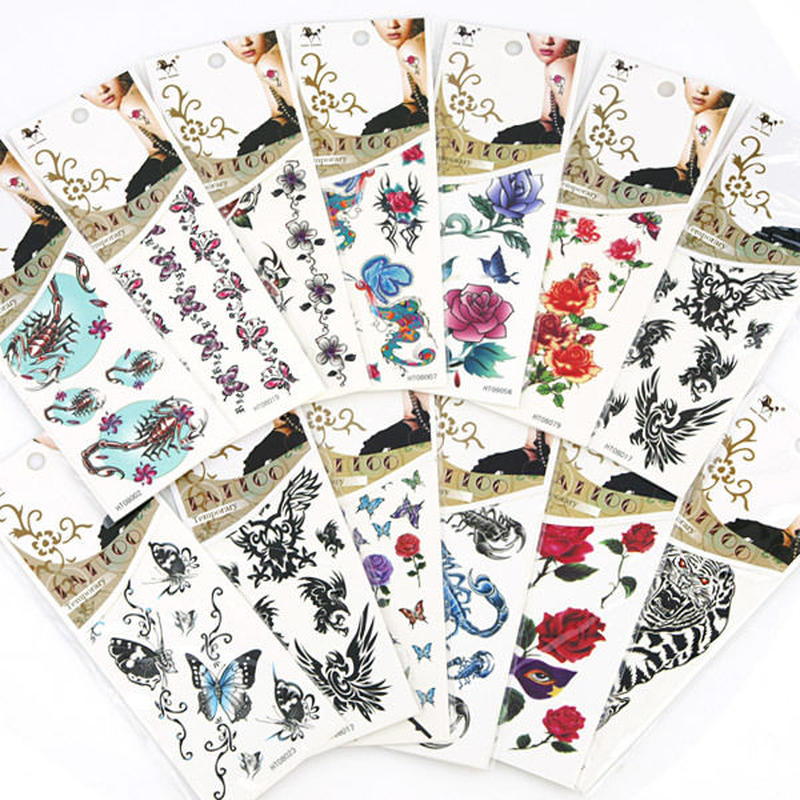 ファッション雑貨◆タトゥーシール Tattoo 蝶・ワシ・バラ・スコーピオン・トラ柄◆tab0007