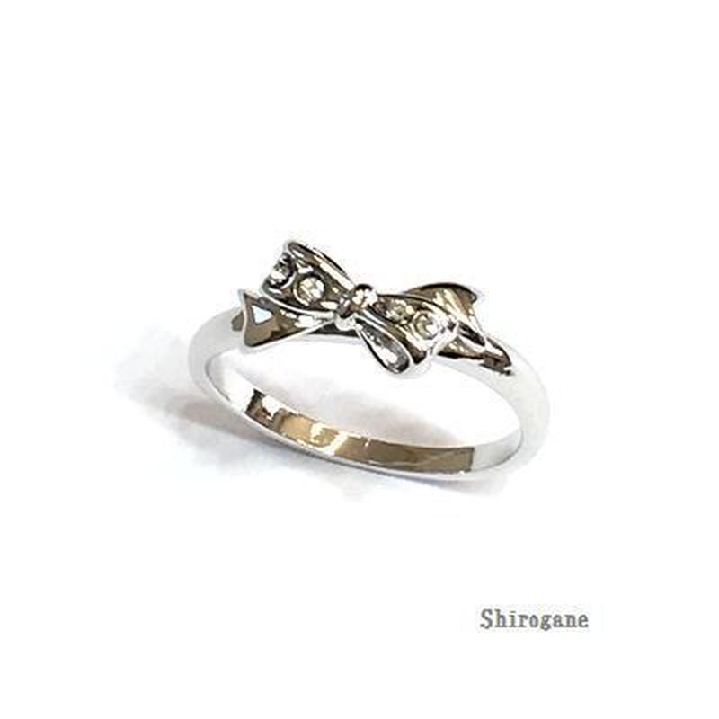 指輪 りぼんピンキーリング スワロフスキークリスタル使用 sg◆BR-3592