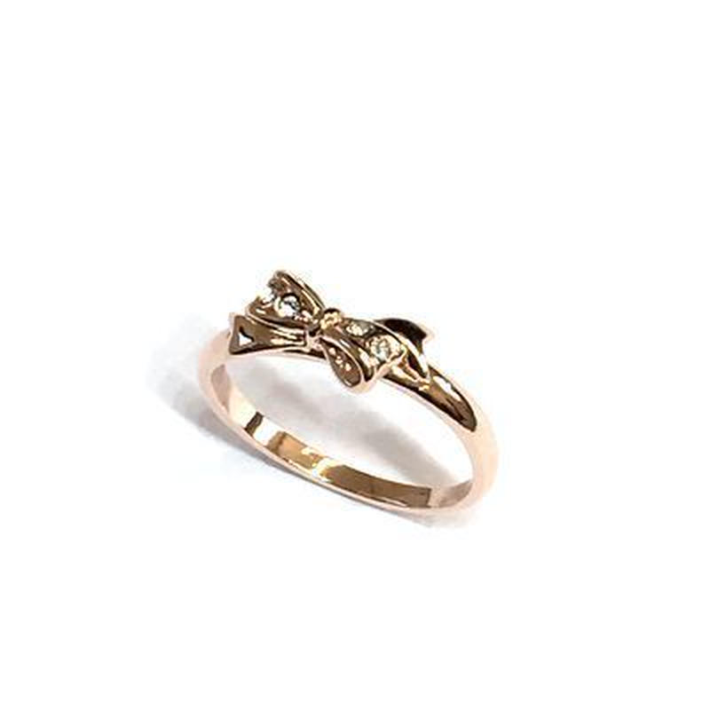 指輪 ピンクG りぼんピンキーリング スワロフスキークリスタル使用 sg◆BR-3592