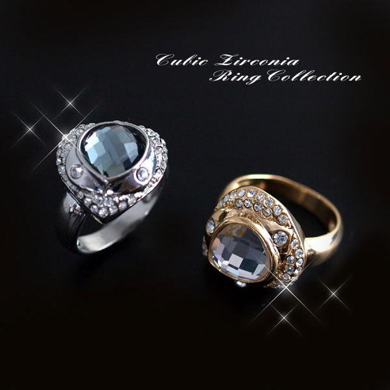 指輪 リング◆ドバイ風 チェコストーンリング16号サイズ/2カラー◆Hr-d103