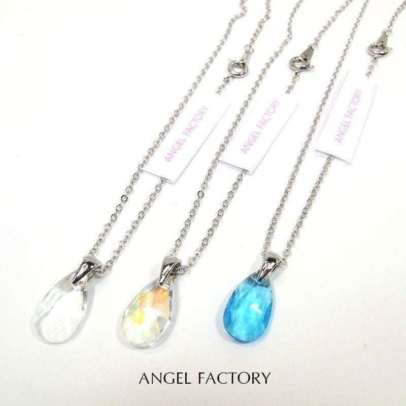 ネックレス A級ガラス カッティングティアドロップ 3カラー ANGEL FACTORY lalalady-204