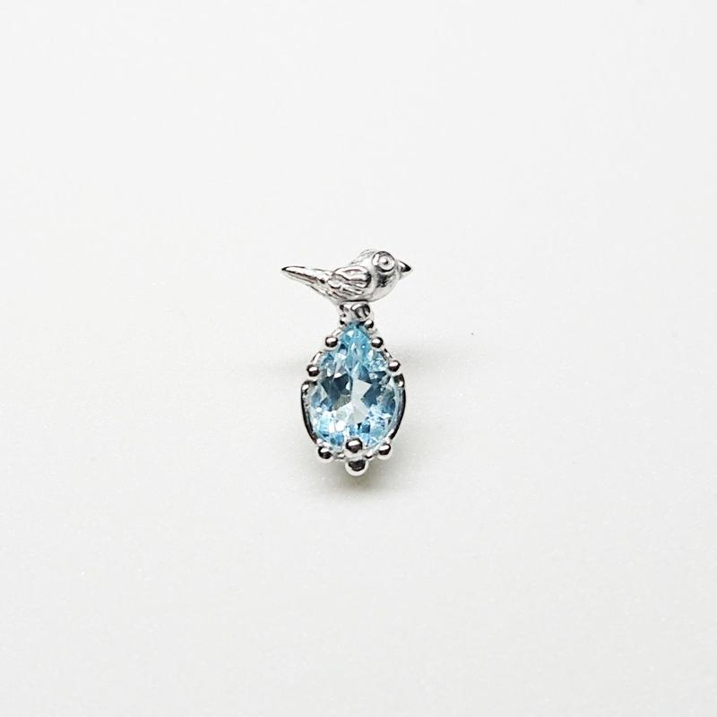 Silver(RH) Single earring (Tiny bird - Aquamarine)