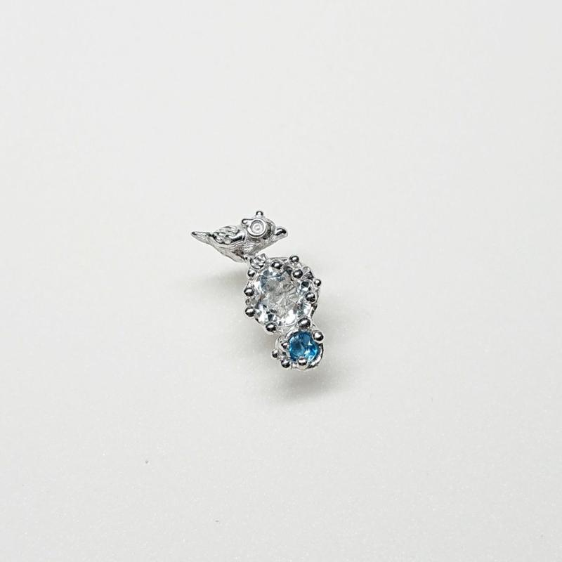 Silver(RH) Single earring (Tiny bird - Crystal/London blue topaz)