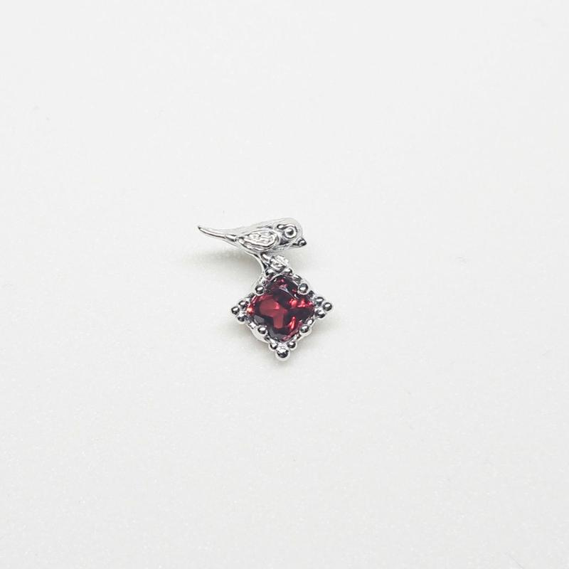 Silver(RH) Single earring (Tiny bird - Garnet)